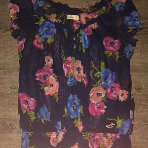 Hollister flower short sleeve shirt